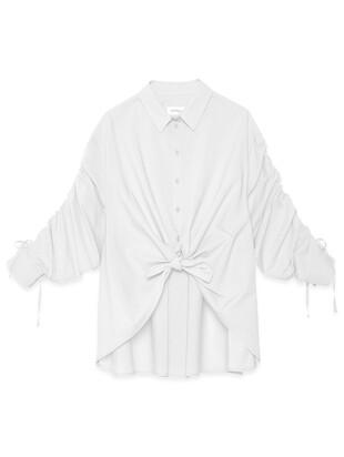 Camicia con nodo in popeline